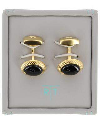 Bullseye golden cufflinks with onyx TATEOSSIAN