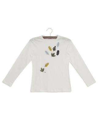 Falling leaves embellished long-sleeved T-shirt IL GUFO
