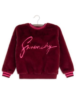 Sweat-shirt en fourrure synthétique brodé logo GIVENCHY