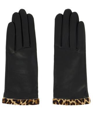 Gants en cuir avec bords imprimés léopard Edith AGNELLE