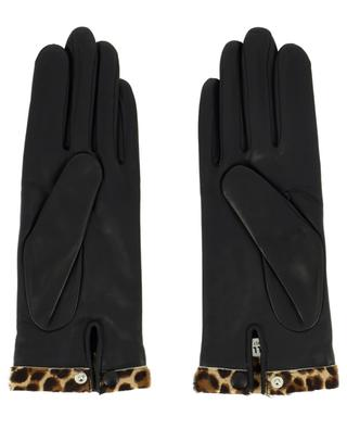 Edith leather gloves with leopard print trim AGNELLE