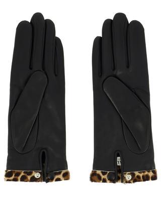 Lederhandschuhe mit Leopardenprint-Rand Edith AGNELLE