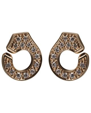Clous d'oreilles en or rose avec diamants Menottes DINH VAN