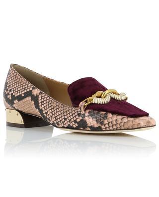 Jessa snakeskin and velvet loafers TORY BURCH
