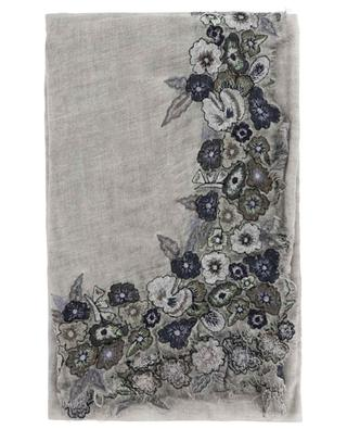 Schal mit glitzernden Blütenstickereien Griselda FALIERO SARTI