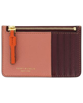 Perry Color-Block leather card holder with zippered pocket TORY BURCH