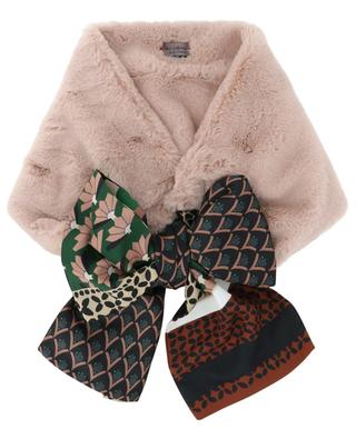 Faux fur scarf with shawl details LEA CLEMENT