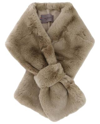 Fur and fabric pussy bow scarf LEA CLEMENT
