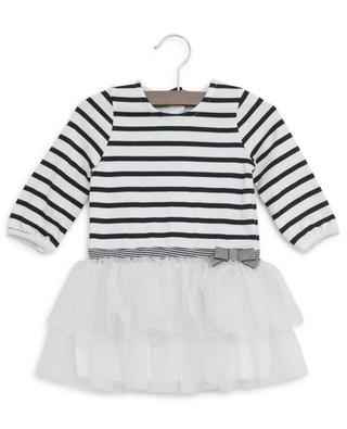 Striped cotton dress with glitter tulle PETIT BATEAU