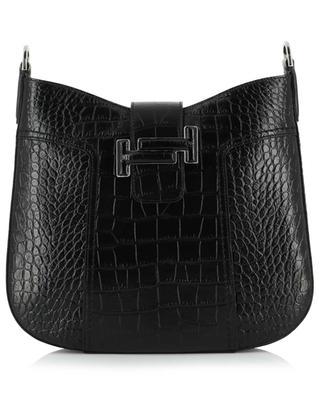 Hobo croc embossed leather shoulder bag TOD'S