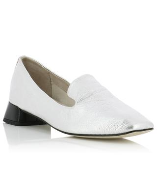 Mocassins en cuir grainé argenté Mathis REPETTO