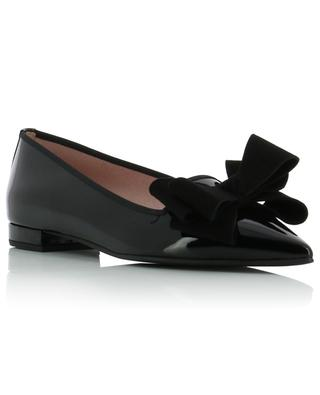 Clementine pointy toe ballet flats in patent leather with suede bow PRETTY BALLERINAS