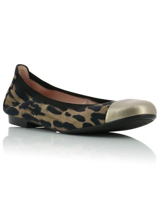 Shirley leopard fabric and metallic leather ballet flats PRETTY BALLERINAS