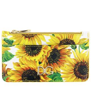 Sunflowers DG long printed leather card holder DOLCE & GABBANA