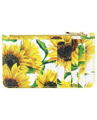 Porte-cartes long en cuir imprimé Sunflowers DG DOLCE & GABBANA