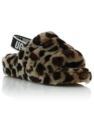 Fluff Yeah Slide Leopard shearling slides UGG