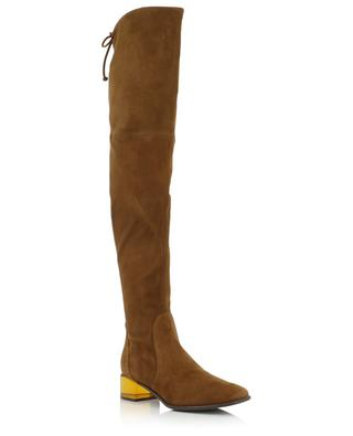 Charolet suede boots with square toe and Lucite heel STUART WEITZMAN