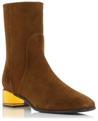 Clodette suede booties with Lucite block heels STUART WEITZMAN