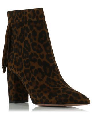 Regent 85 jaguar print suede ankle boots AQUAZZURA