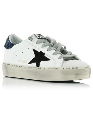 Baskets plateau avec étoile noir et paillettes bleues Hi Star GOLDEN GOOSE