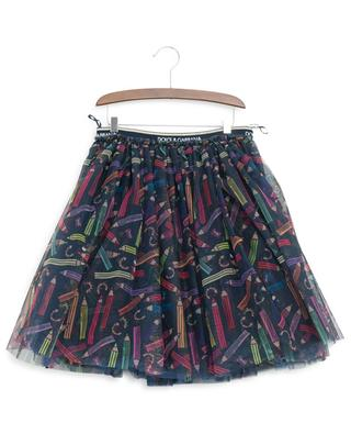 Flared pencil print tulle skirt DOLCE & GABBANA