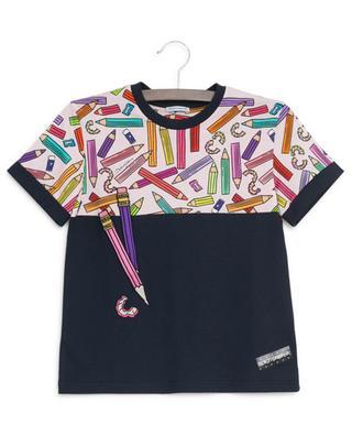 T-Shirt aus Baumwolle mit Buntstifte-Print DOLCE & GABBANA