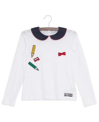 Back To School long-sleeved cotton T-shirt with peter pan collar DOLCE & GABBANA