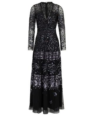 Aurora long V-neck dress with sequin embroideries NEEDLE &THREAD