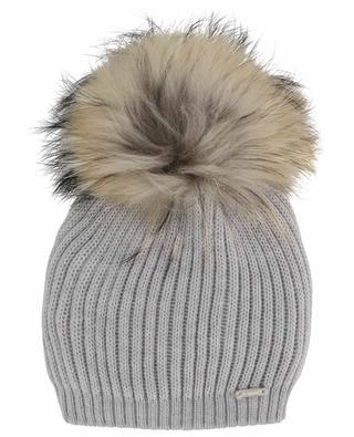 Genuine fur adorned rib knit beanie IL TRENINO