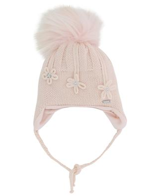 Flower adorned baby beanie with real fur IL TRENINO