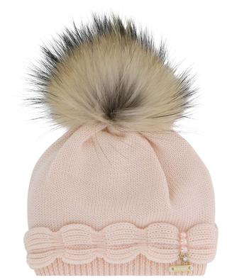 Real fur pompon adorned virgin wool beanie IL TRENINO