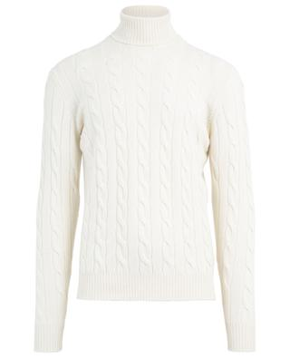Turtle neck merino wool and cashmere cable knit jumper LUIGI BORRELLI
