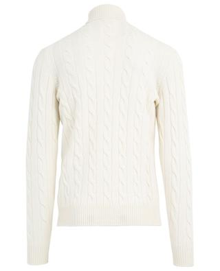 Turtle neck merino wool and cashmere cable knit jumper BORRELLI