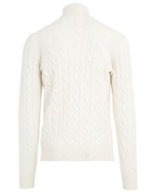 Turtle neck merino wool and cashmere cable knit jumper LUIGI BORRELLI