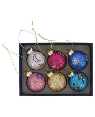 Cosmic Colour set of 6 glitter Christmas baubles KLEVERING