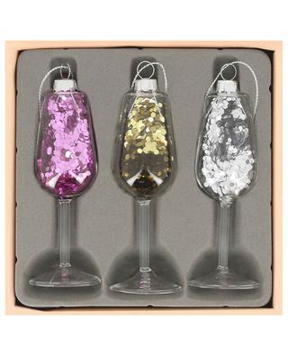 Set aus drei Glasanhängern Glitter Champagne KLEVERING