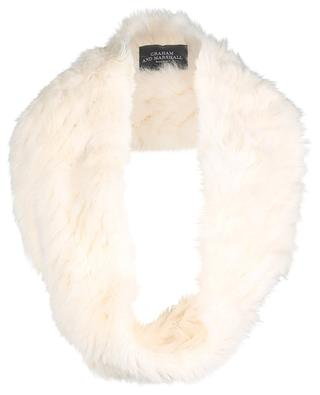 Rabbit fur and leather tube scarf GRAHAM&MARSHALL