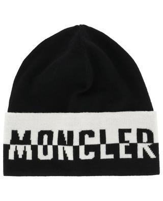 Feine Mütze aus Schurwolle mit zweifarbigem Logo MONCLER
