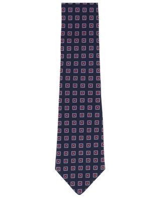 Krawatte aus texturierter Seide mit Blütenquadraten BORRELLI