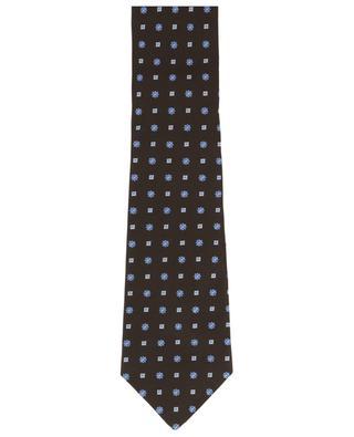 Floral and square adorned silk tie BORRELLI