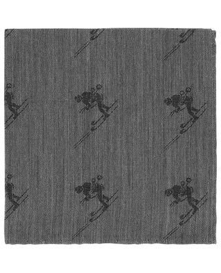 SKI skier pattern jacquard pocket square SIMONNOT GODARD