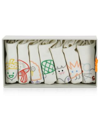 Coffret de sept bavoirs en coton brodé STELLA MCCARTNEY KIDS