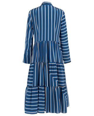 Gestreiftes Midi-Kleid aus Seidencrêpe de Chine Lake Desert Black AKRIS PUNTO