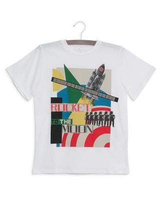 T-shirt en coton durable imprimé fusée Collage STELLA MCCARTNEY KIDS