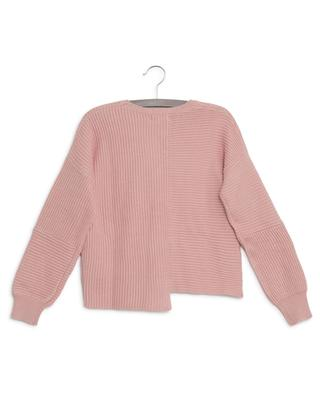 Asymmetrical sustainable cotton and wool jumper STELLA MCCARTNEY KIDS