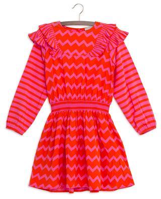 Gesmoktes Kleid mit Fischgrätenmuster STELLA MCCARTNEY KIDS
