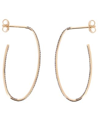 Large Ellipse black diamonds pink gold earrings GINETTE NY