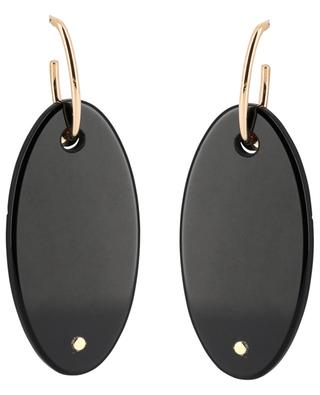 Ellipse pink gold earrings with black onyx GINETTE NY