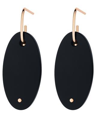Boucles d'oreilles en or rose et onyx noir Ellipse GINETTE NY