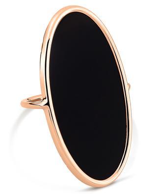 Large Ellipse Onyx Ring pink gold ring GINETTE NY